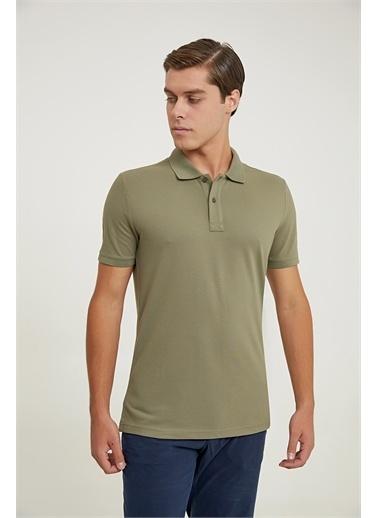 D'S Damat Ds Damat Regular Fit Sarı Pike Dokulu T-Shirt Haki